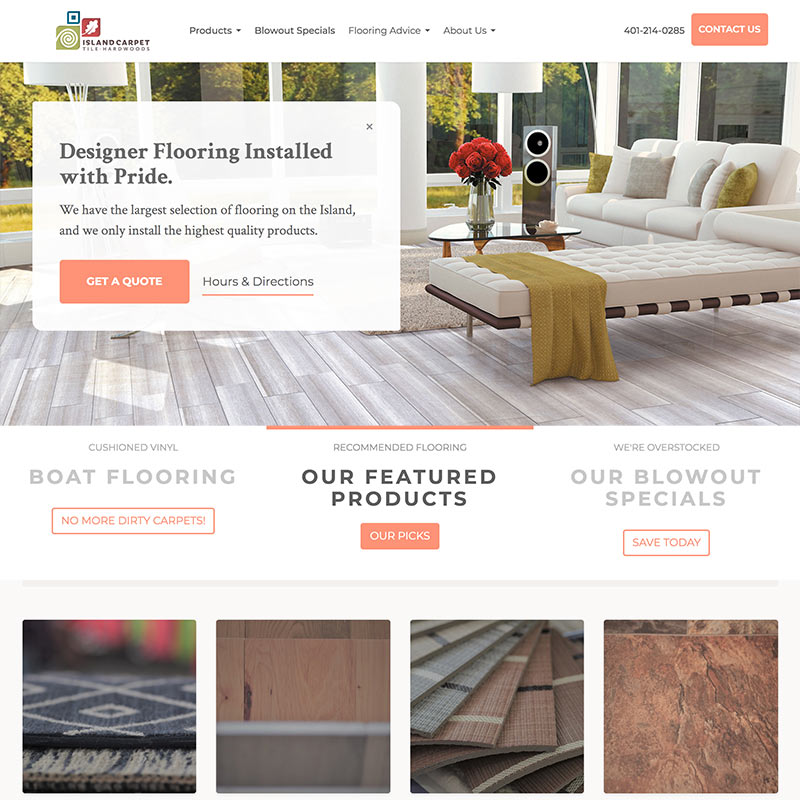 Website Homepage of Island Carpet in Middletown, Rhode Island