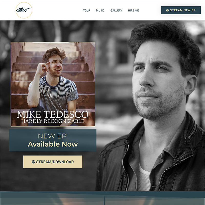Singer Mike Tedesco's Website Homepage
